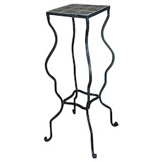 Spanish Revival Beautiful Vintage Tile Top Wrought Iron Plant Stand