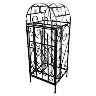 "Vintage 1930s Spanish Revival Wrought Iron""Cage Shape""Wine Rack"