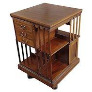 Antique Edwardian Mahogany & Satin Wood Revolving Bookshelf -c1900s