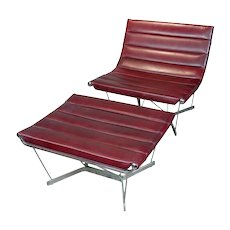 George Nelson Original 1962 Catenary Chair w/Ottoman -Red Leather  Mid century Modern