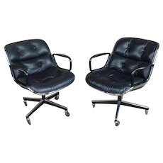 Charles Pollock 1960s Executive Chairs in Black Leather for Knoll -A Beautiful Pair