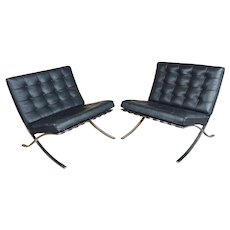 Knoll Studio 1960s Barcelona Chairs-Black leather & chrome finish-a Pair