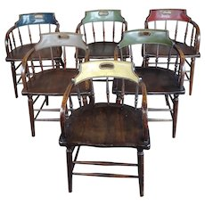Antique Captain Old West Gambling Arm Chairs -Set of 6