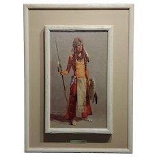 Harvey William Johnson -Portrait of an Indian w/the Eagle Head Headdress-Oil painting