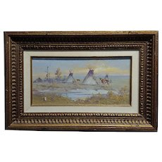 """Ace Powell - View of an Indian Camp w/ """"Teepees"""" -Oil painting"""