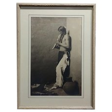 Karl Moon -Native American Indian blowing his Flute-1908 Original Photogravure