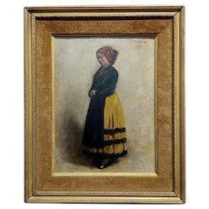Leon Bonnet -19th century Portrait of an Italian Woman-Oil painting 1871