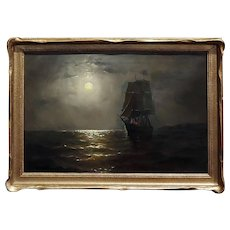 19th century Ship Sailing by Moonlight -Oil painting signed by Miller