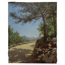 Pierre Adrien Chabal Dussurgey Picturesque Country side Road-Oil Painting-c1860s