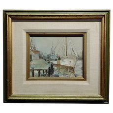 Boccari - Fishing boat on port - Oil painting oil painting on canvas