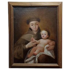 San Francis D'Assisi w/the Christ Child-17th century Italian Oil painting