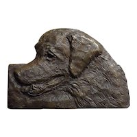 Golden Retriever Bronze wall plaque sculpture by Laurie Smith