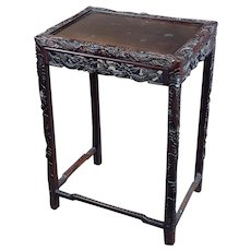 Chinese Antique side Table Stand w/Carved Dragon design