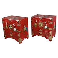 Chinese Beautiful Red Lacquered commodes -a Pair