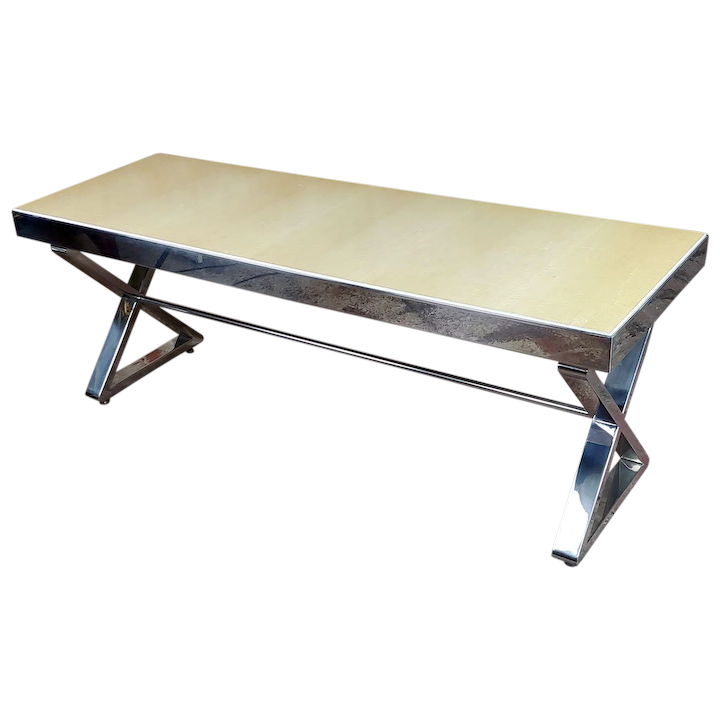 Beautiful Designer Chrome Coffee Table With Lacquered Wooden Top : Pasadena  Art Monkeys | Ruby Lane