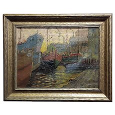 Boats in a crowded Port -Oil painting on canvas -c1930s