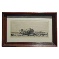 Rembrandt Landscape with a cottage and haybarn: oblong; Etching