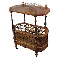 19th c. Georgian Carved Burl Wood Library Book Stand & Magazine rack