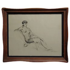 Alexander Cañedo -Profile of a Nude Female- Beautiful Graphite drawing