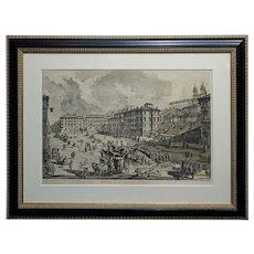 Giovanni Battista Piranesi -Veduta di Piazza Spagna -18th century Etching