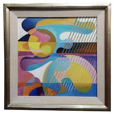 Dick Hersey - Mid Century Geometric Abstract - Oil painting