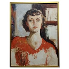 Antonia Greene -1930s Portrait of a woman in Red -Oil painting