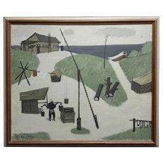 Fume Kitaoka -1965 Japanese Seashore campement -Original Oil painting