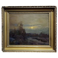 Ovens Barbarian -Moonlight Night Landscape  -Oil painting