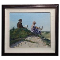 Henri Vos -Two Artists on the Dunes -Impressionist -Oil painting c1910s
