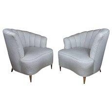 Art Deco Glamour Chairs w/Asymmetrical Shell Back-A pair