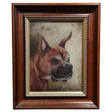 Portrait of a Boxer Dog -Impressionist - oil painting on canvas