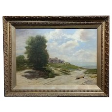 19th century Impressionist Seashore Landscape -Oil painting