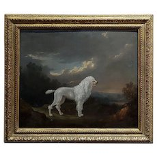 18th century Portrait of a White Poodle in a Landscape-Oil painting c.1780/1800