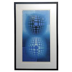 Victor Vasarely -Double Blue Spheres -Original Color Screenprint -Pencil Signed