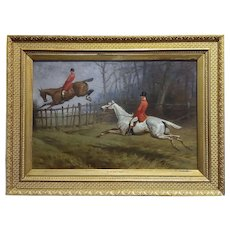 Basil Nightingale -Gentlemen's in Redcoat on Horse Timber Jumping-Oil painting