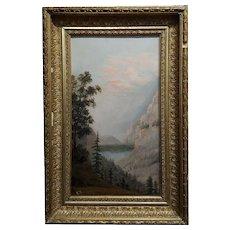 E. Robinson -California Mountain Landscape with Lake -19th century Oil painting