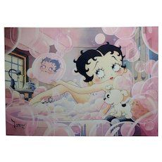 Toby Bluth-Betty Boop bubbles bath w/ Pudgy -Giclee painting on canvas-Signed