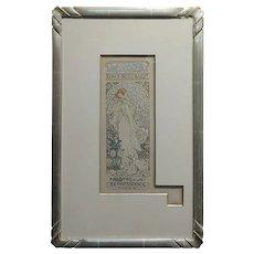 Alphonse Mucha La Dame Aux Camelias -1898 Original Lithograph