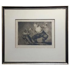Francisco De Goya 'Bobalicón' Proverbio n.4 -Etching on paper