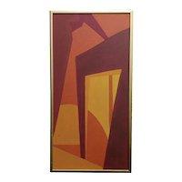 1960s Original Hard Edge Abstract -1960s Mid-century Oil painting