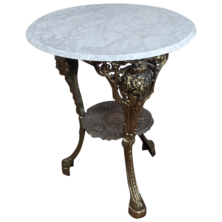 Beautiful Vintage Br Pub Bistro Table With Round Marble Top