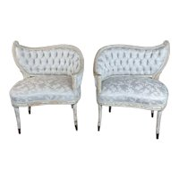 French Provincial Blue Upholstered Asymmetrical Bergeres Chairs-a Pair