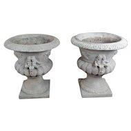 Antique Italian Concrete Urns Plantes w/Cherubs -a Pair