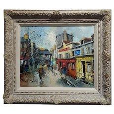 Fernand Claver -Paris, Place du Tertre à Montmartre-Oil painting c.1959