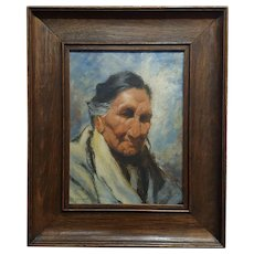 Eanger Irving Couse -Portrait of a Native American Woman-Oil painting