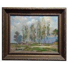 Denes De Holesch -Rounding the Turn, Horse Race -Oil painting