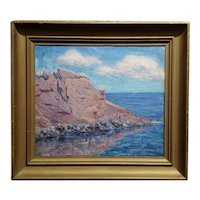 Large Cliff Seascape  -California Impressionist Oil painting c.1920s