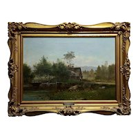 George Frank Higgins-The Old Mills-19th century East Coast Landscape-Oil painting