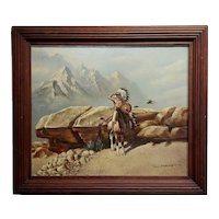 Solenson -Indian Chief on Horse scanning the horizon -Oil painting