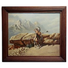 Jack Sorenson -Indian Chief on Horse scanning the horizon -Oil painting